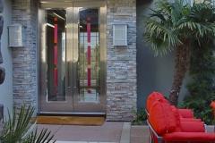 Red tiles door